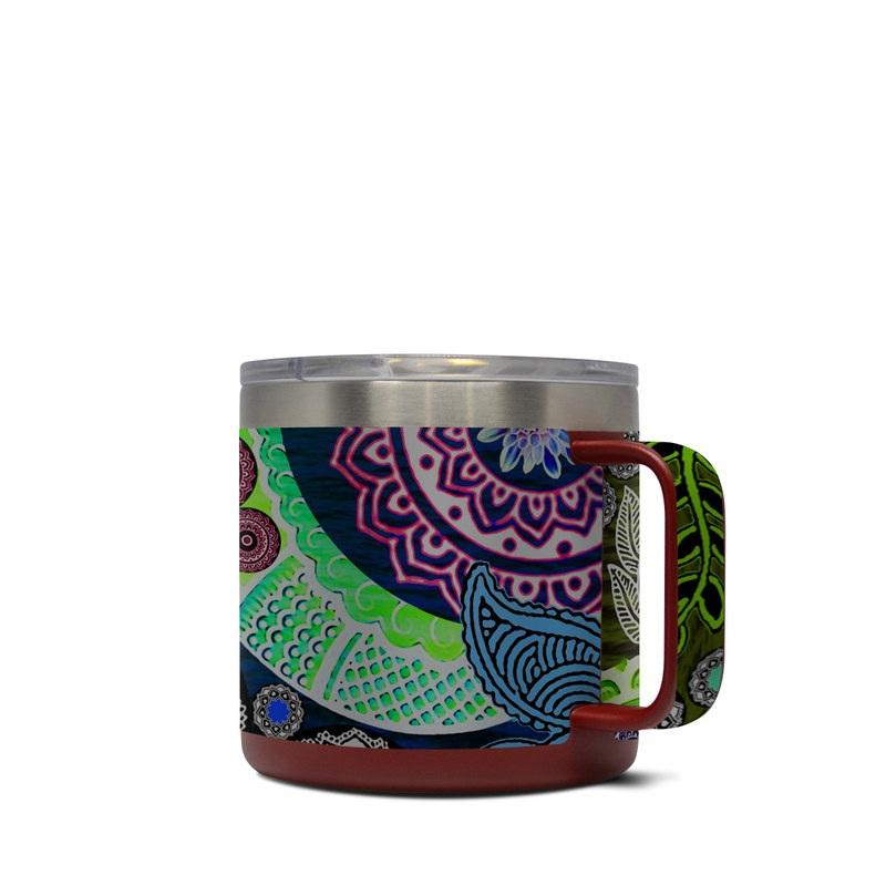 Yeti Rambler Mug 14oz Skin design of Skull, Bone, Pattern, Psychedelic art, Visual arts, Design, Illustration, Art, Textile, Plant with black, red, gray, green, blue colors