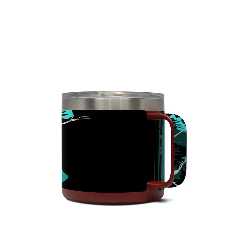 Yeti Rambler Mug 14oz Skin design of Branch, Black, Blue, Green, Turquoise, Teal, Tree, Plant, Graphic design, Twig with black, blue, gray colors