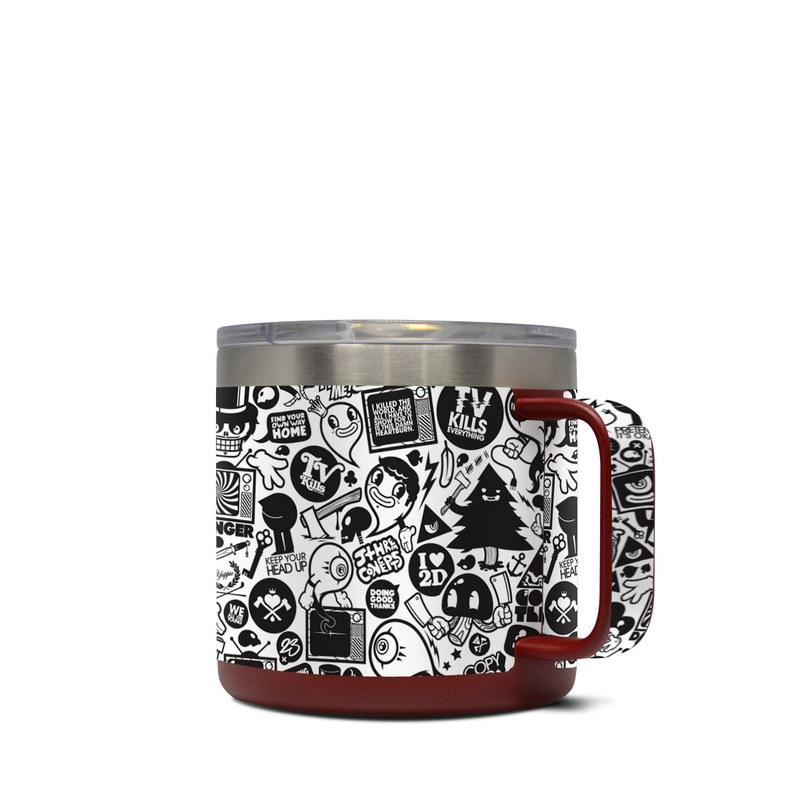 Yeti Rambler Mug 14oz Skin design of Pattern, Drawing, Doodle, Design, Visual arts, Font, Black-and-white, Monochrome, Illustration, Art with gray, black, white colors