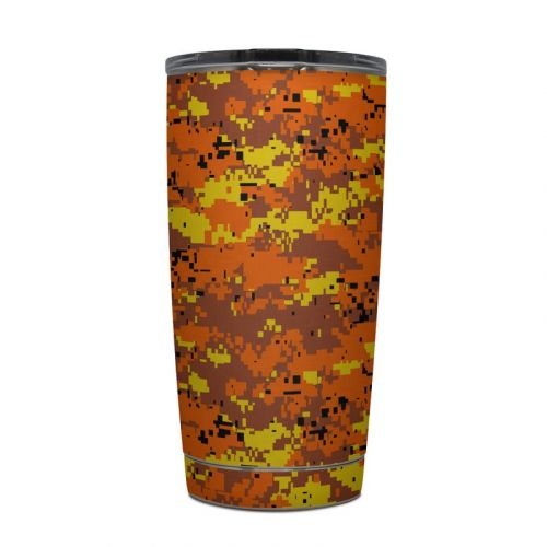 Digital Orange Camo Yeti Rambler Tumbler 30oz Skin