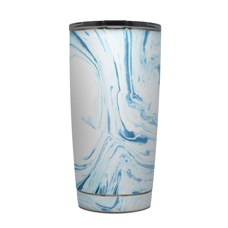 Yeti Rambler Tumbler 20oz Skin design of Water, Aqua, Wind wave, Drawing, Painting, Wave, Pattern, Art with blue colors