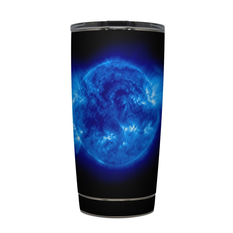 Yeti Rambler Tumbler 20oz Skin design of Blue, Astronomical object, Outer space, Atmosphere, Electric blue, Earth, Planet, Water, Space, Universe with blue, black colors