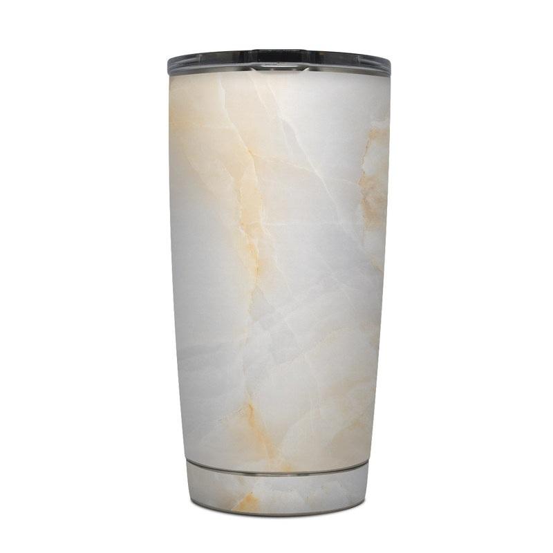 Yeti Rambler Tumbler 20oz Skin design of White, Textile, Flooring, Marble, Paper, Pattern, Fashion accessory, Tile with white, orange, black, yellow colors