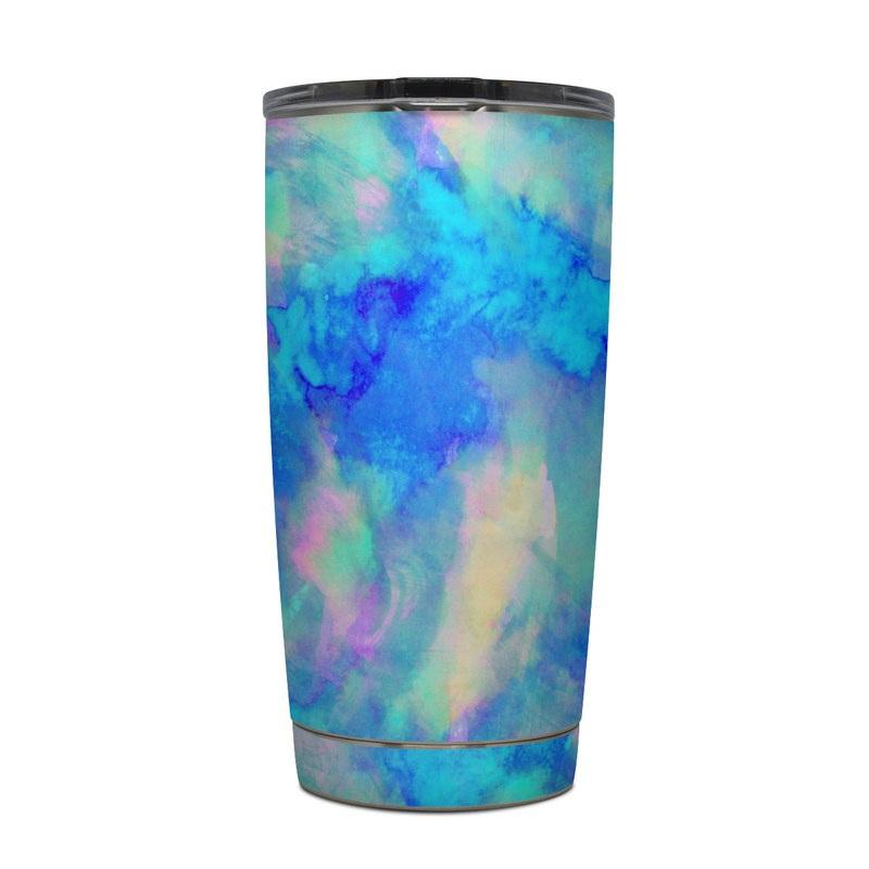 Yeti Rambler Tumbler 20oz Skin design of Blue, Turquoise, Aqua, Pattern, Dye, Design, Sky, Electric blue, Art, Watercolor paint with blue, purple colors