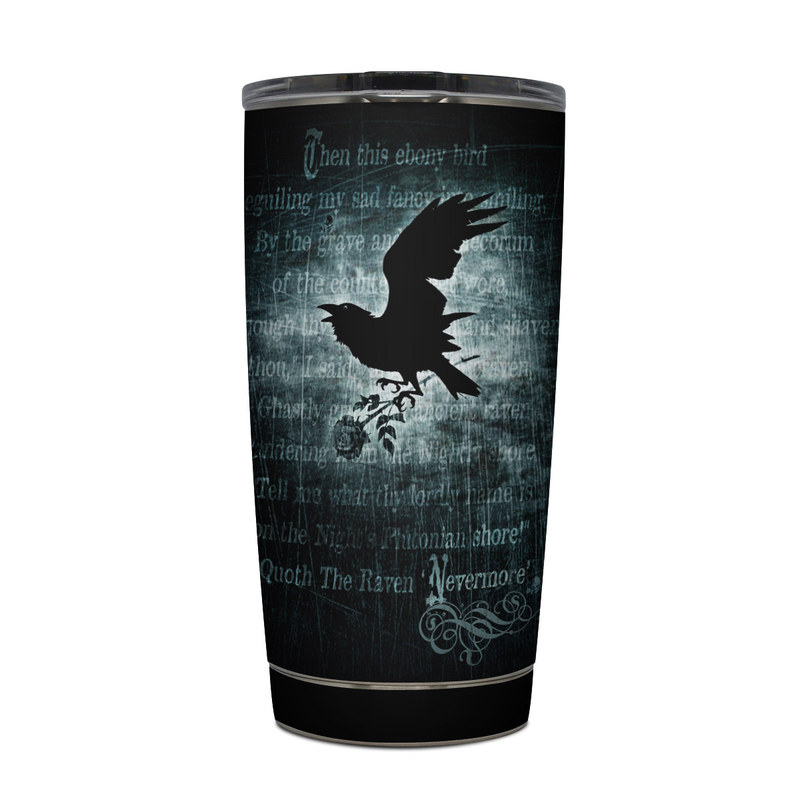 Yeti Rambler Tumbler 20oz Skin design of Bird, Text, Wing, Graphic design, Darkness, Font, Illustration, Graphics with black, white, blue colors