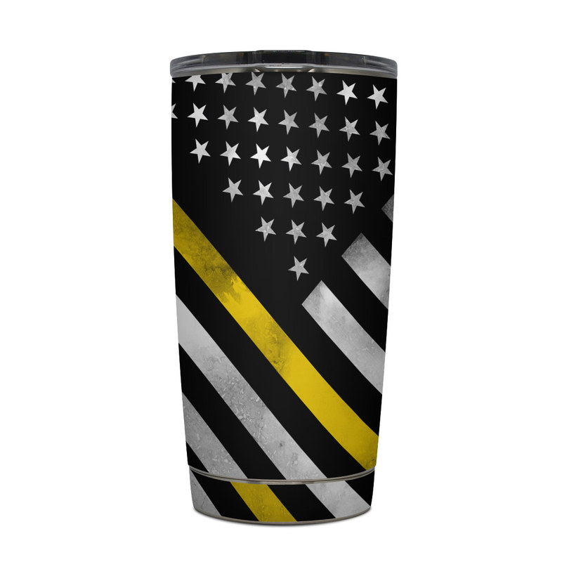 Yeti Rambler Tumbler 20oz Skin design of Flag of the united states, Flag, Yellow, Line, Black-and-white, Pattern, Monochrome, Graphic design, Parallel with black, white, gray, yellow colors