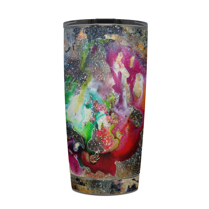 Yeti Rambler Tumbler 20oz Skin design of Organism, Space, Art, Nebula, Rock with black, gray, red, green, blue, purple colors