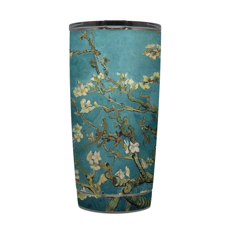 Yeti Rambler Tumbler 20oz Skin design of Tree, Branch, Plant, Flower, Blossom, Spring, Woody plant, Perennial plant with blue, black, gray, green colors