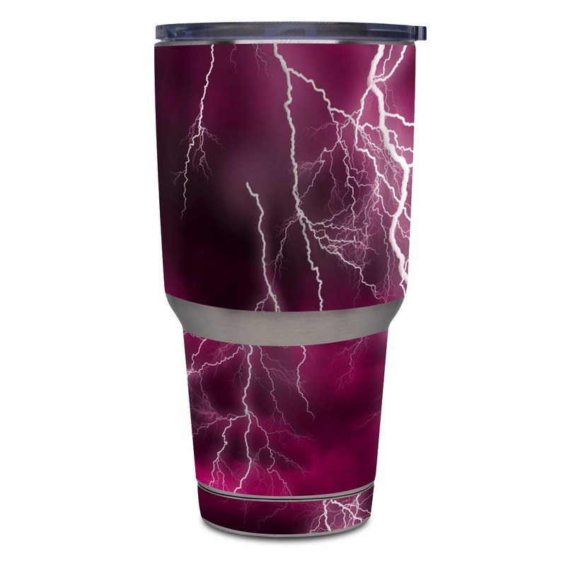 Yeti Rambler Tumbler 30oz Skin design of Thunder, Lightning, Thunderstorm, Sky, Nature, Purple, Red, Atmosphere, Violet, Pink with pink, black, white colors