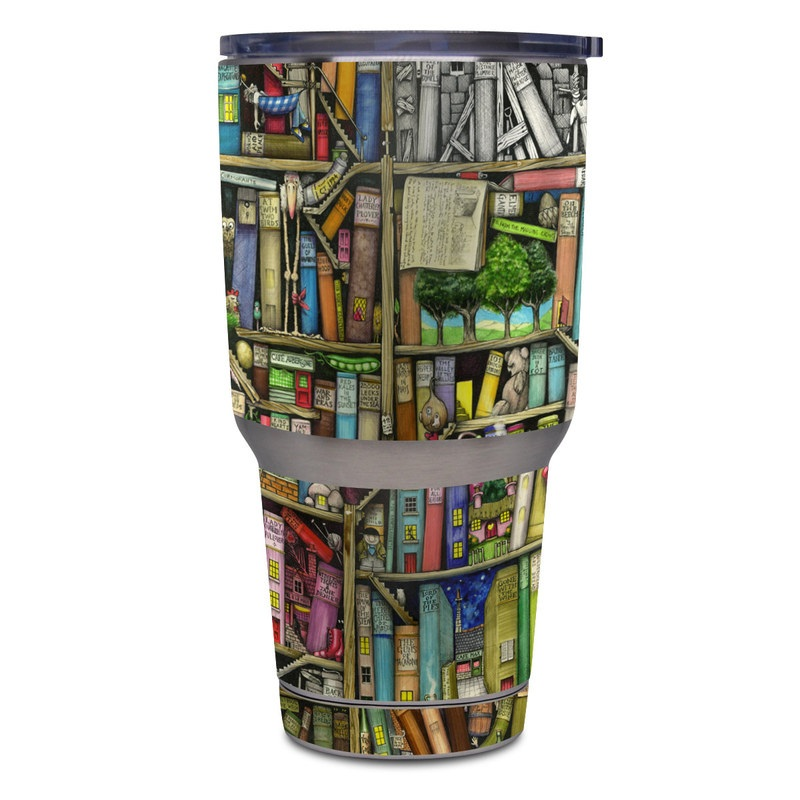 Yeti Rambler Tumbler 30oz Skin design of Collection, Art, Visual arts, Bookselling, Shelving, Painting, Building, Shelf, Publication, Modern art with brown, green, blue, red, pink colors