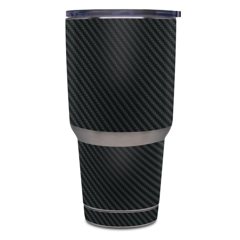 Yeti Rambler Tumbler 30oz Skin design of Green, Black, Blue, Pattern, Turquoise, Carbon, Textile, Metal, Mesh, Woven fabric with black colors