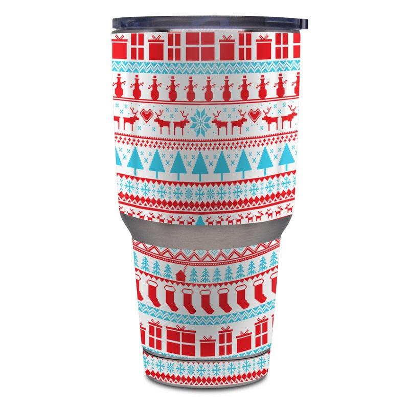 Yeti Rambler Tumbler 30oz Skin design of Pattern, Textile, Line, Design with pink, white, red, gray, purple, blue colors