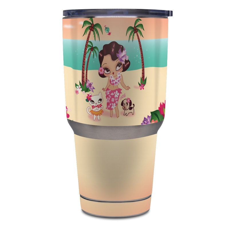 Yeti Rambler Tumbler 30oz Skin design of Cartoon, Illustration, Fictional character, Summer, Tree, Luau, Plant, Art, Clip art, Graphics with pink, gray, black, blue, red, green colors