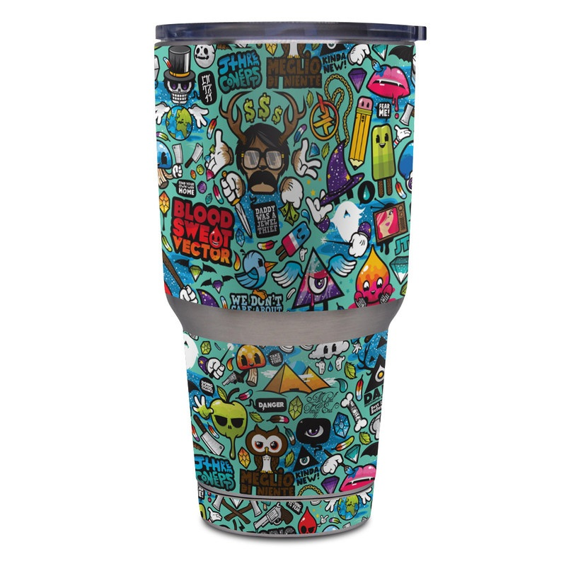 Yeti Rambler Tumbler 30oz Skin design of Cartoon, Art, Pattern, Design, Illustration, Visual arts, Doodle, Psychedelic art with black, blue, gray, red, green colors