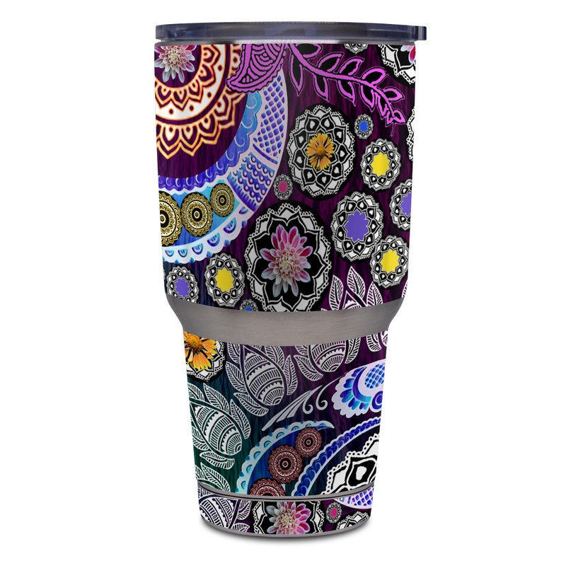Yeti Rambler Tumbler 30oz Skin design of Pattern, Psychedelic art, Art, Visual arts, Design, Floral design, Textile, Motif, Circle, Illustration with black, gray, purple, blue, green, red colors