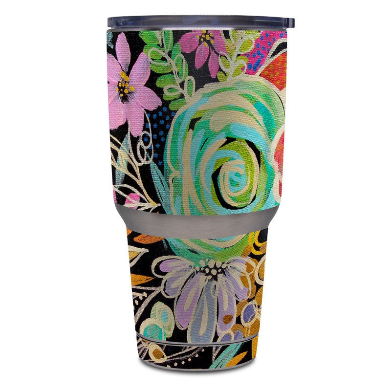 Yeti Rambler Tumbler 30oz Skin design of Pattern, Floral design, Design, Textile, Visual arts, Art, Graphic design, Psychedelic art, Plant with black, gray, green, red, blue colors