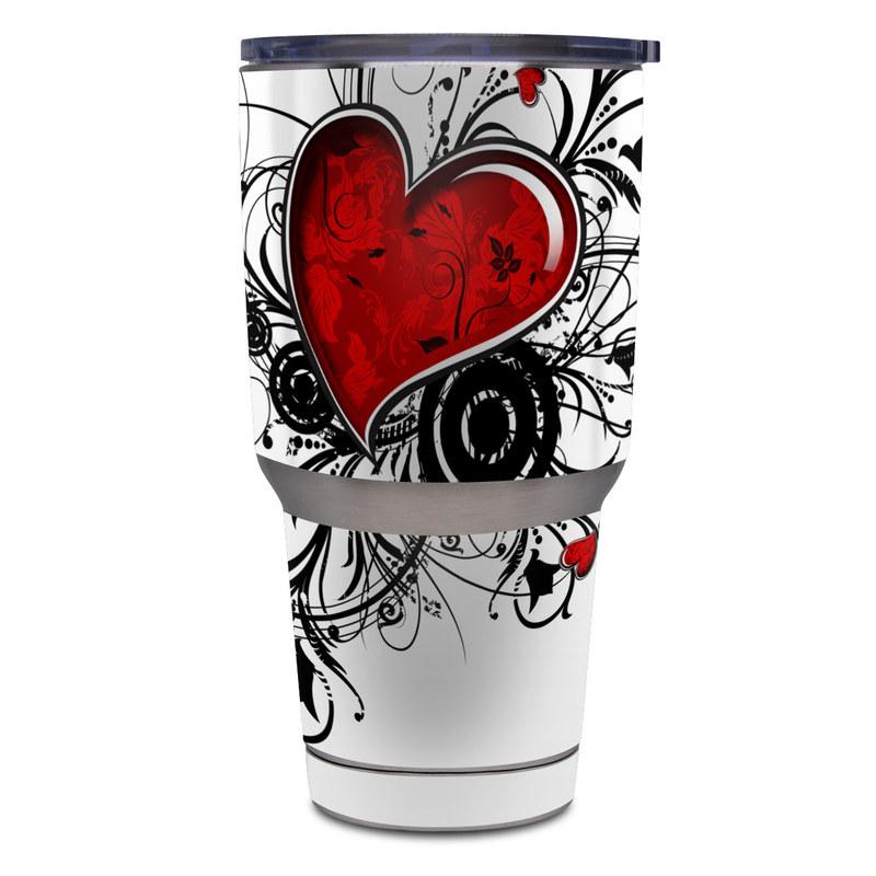 Yeti Rambler Tumbler 30oz Skin design of Heart, Line art, Love, Clip art, Plant, Graphic design, Illustration with white, gray, black, red colors