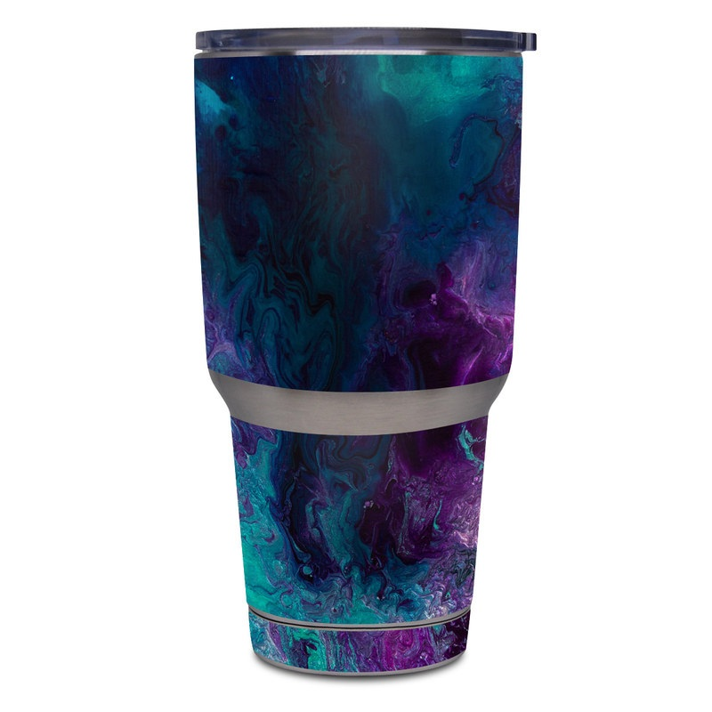 Yeti Rambler Tumbler 30oz Skin design of Blue, Purple, Violet, Water, Turquoise, Aqua, Pink, Magenta, Teal, Electric blue with blue, purple, black colors
