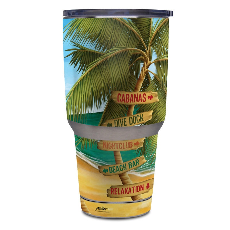 Yeti Rambler Tumbler 30oz Skin design of Palm tree, Arecales, Tropics, Tree, Caribbean, Wave, Water, Coconut, Ocean, Elaeis with green, purple, gray, black, blue colors