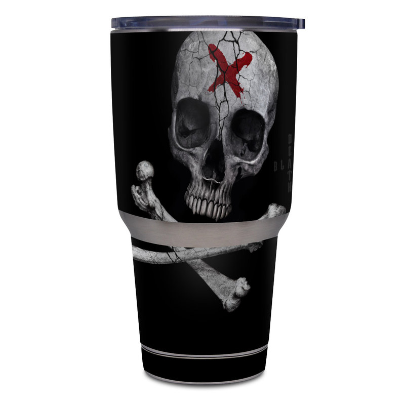 Yeti Rambler Tumbler 30oz Skin design of Bone, Skull, Skeleton, Jaw, Illustration, Animation, Fictional character, Still life photography with black, white, gray colors