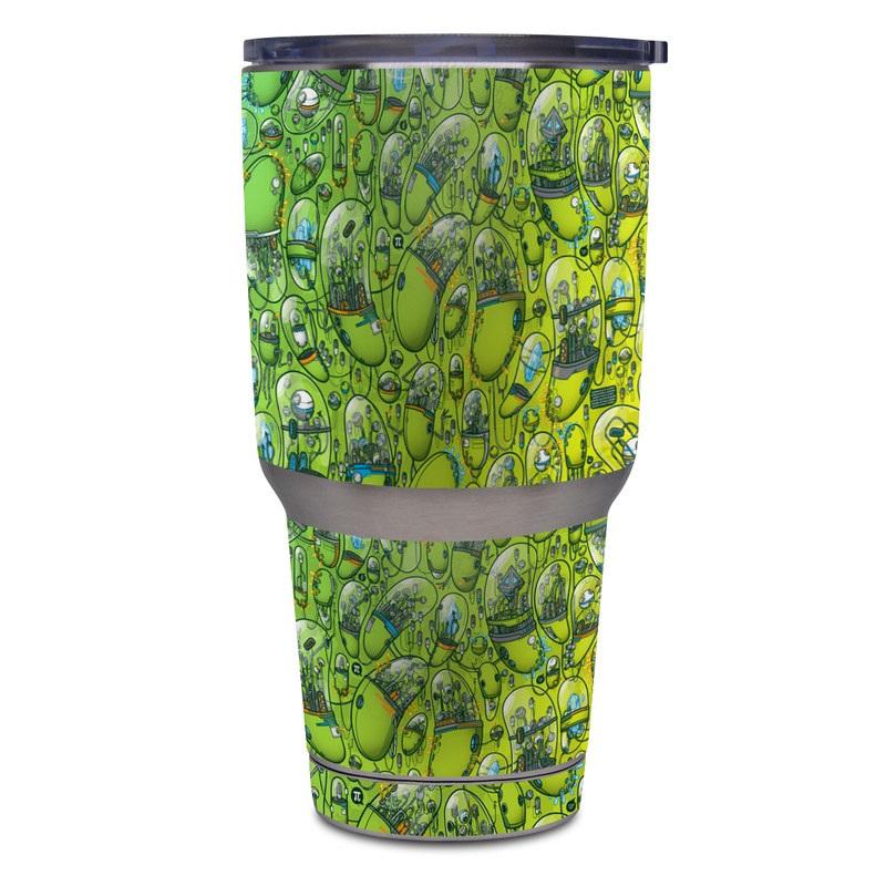Yeti Rambler Tumbler 30oz Skin design of Green, Pattern, Yellow, Design, Illustration, Plant, Art, Graphic design, Urban design with green, blue, gray, yellow, orange colors