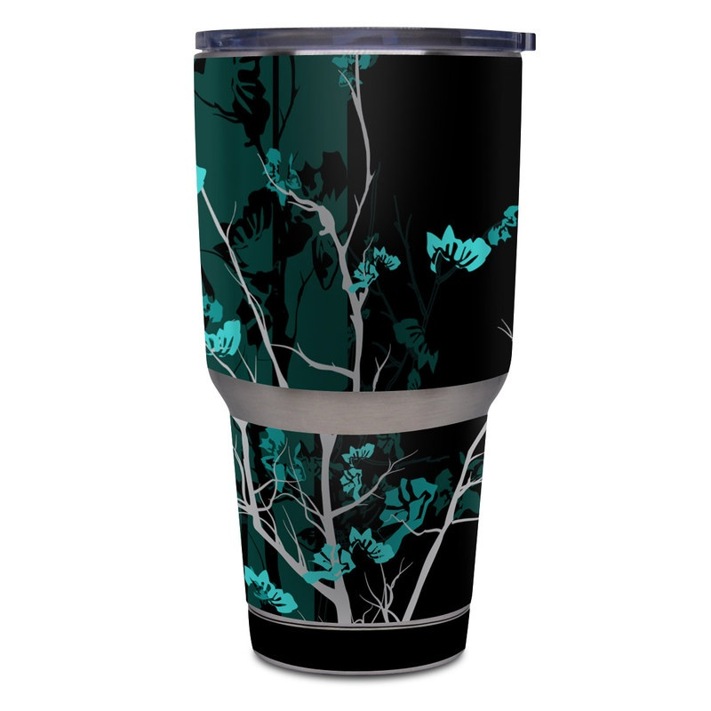 Yeti Rambler Tumbler 30oz Skin design of Branch, Black, Blue, Green, Turquoise, Teal, Tree, Plant, Graphic design, Twig with black, blue, gray colors