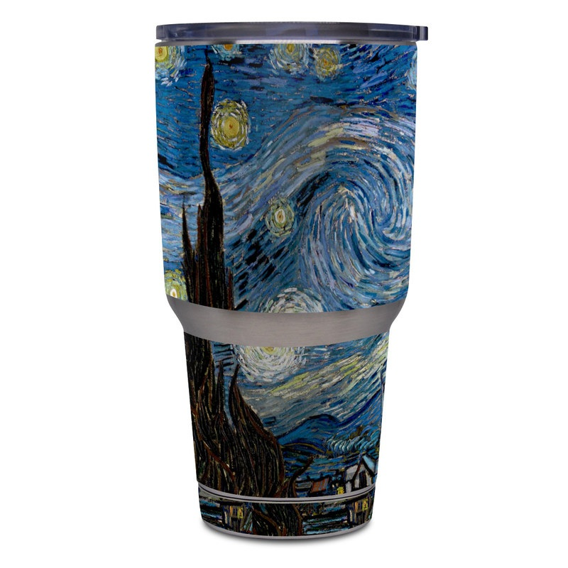 Yeti Rambler Tumbler 30oz Skin design of Painting, Purple, Art, Tree, Illustration, Organism, Watercolor paint, Space, Modern art, Plant with gray, black, blue, green colors