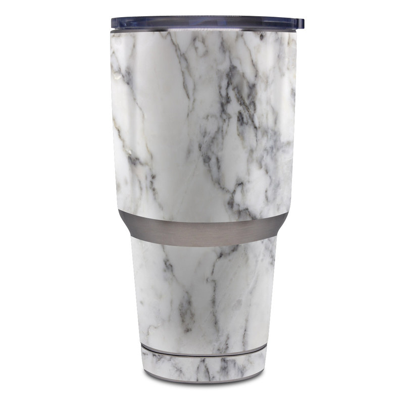 Yeti Rambler Tumbler 30oz Skin design of White, Geological phenomenon, Marble, Black-and-white, Freezing with white, black, gray colors