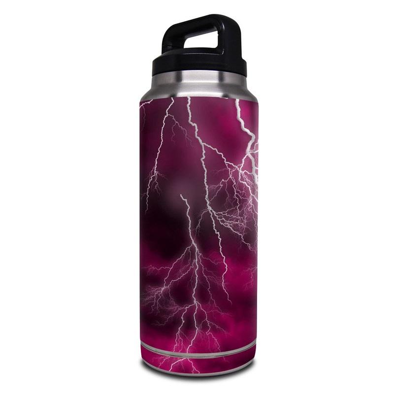 Yeti Rambler Bottle 36oz Skin design of Thunder, Lightning, Thunderstorm, Sky, Nature, Purple, Red, Atmosphere, Violet, Pink with pink, black, white colors