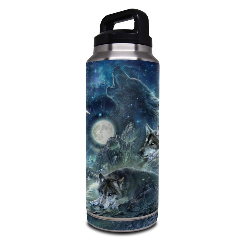 Yeti Rambler Bottle 36oz Skin design of Cg artwork, Fictional character, Darkness, Werewolf, Illustration, Wolf, Mythical creature, Graphic design, Dragon, Mythology with black, blue, gray, white colors