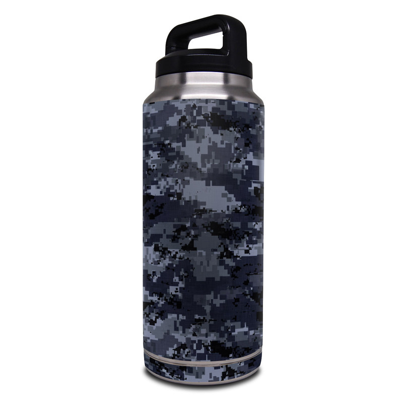Yeti Rambler Bottle 36oz Skin design of Military camouflage, Black, Pattern, Blue, Camouflage, Design, Uniform, Textile, Black-and-white, Space with black, gray, blue colors
