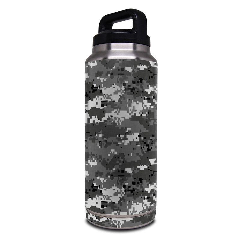 Yeti Rambler Bottle 36oz Skin design of Military camouflage, Pattern, Camouflage, Design, Uniform, Metal, Black-and-white with black, gray colors