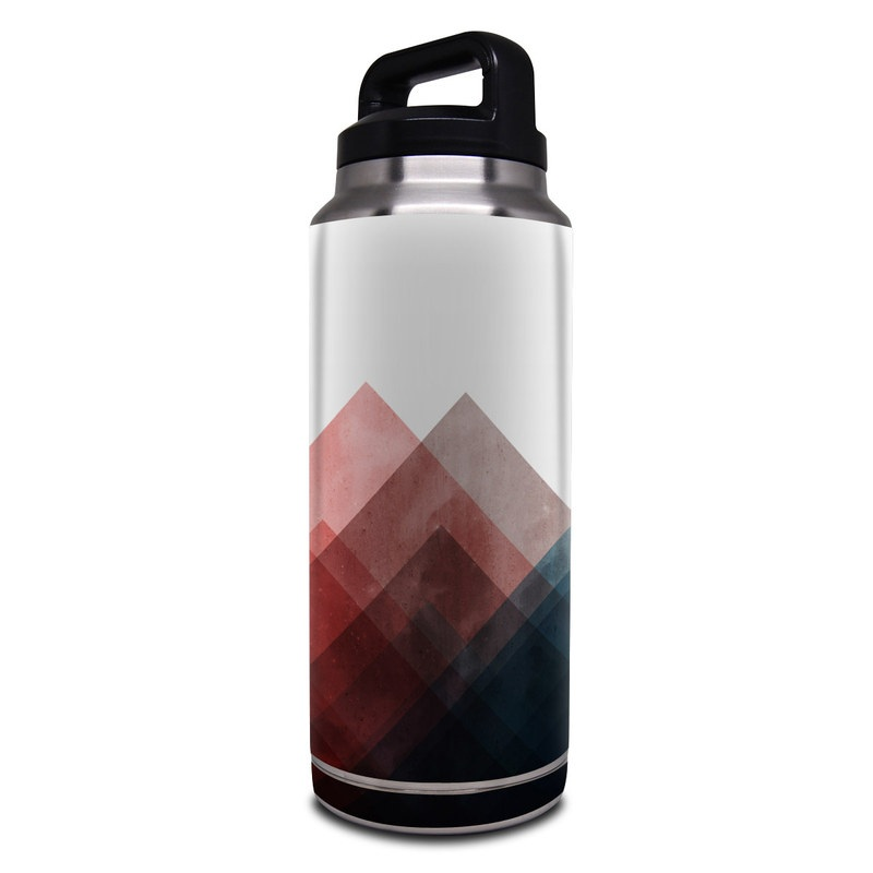 Yeti Rambler Bottle 36oz Skin design of Blue, Red, Sky, Pink, Line, Architecture, Font, Graphic design, Colorfulness, Illustration with red, pink, blue colors