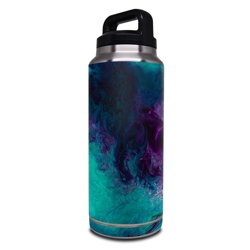 Yeti Rambler Bottle 36oz Skin design of Blue, Purple, Violet, Water, Turquoise, Aqua, Pink, Magenta, Teal, Electric blue with blue, purple, black colors