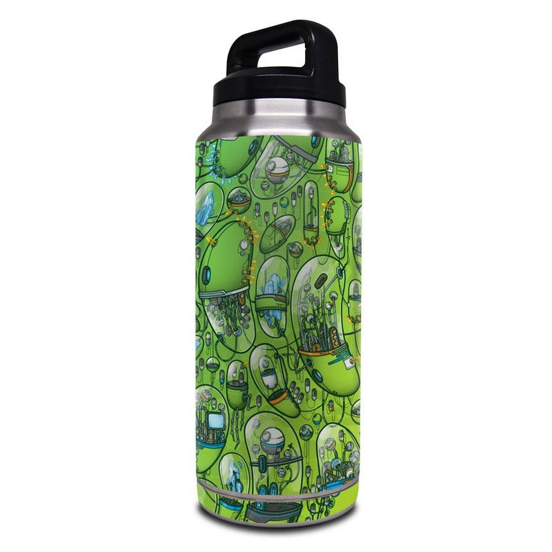 Yeti Rambler Bottle 36oz Skin design of Green, Pattern, Yellow, Design, Illustration, Plant, Art, Graphic design, Urban design with green, blue, gray, yellow, orange colors