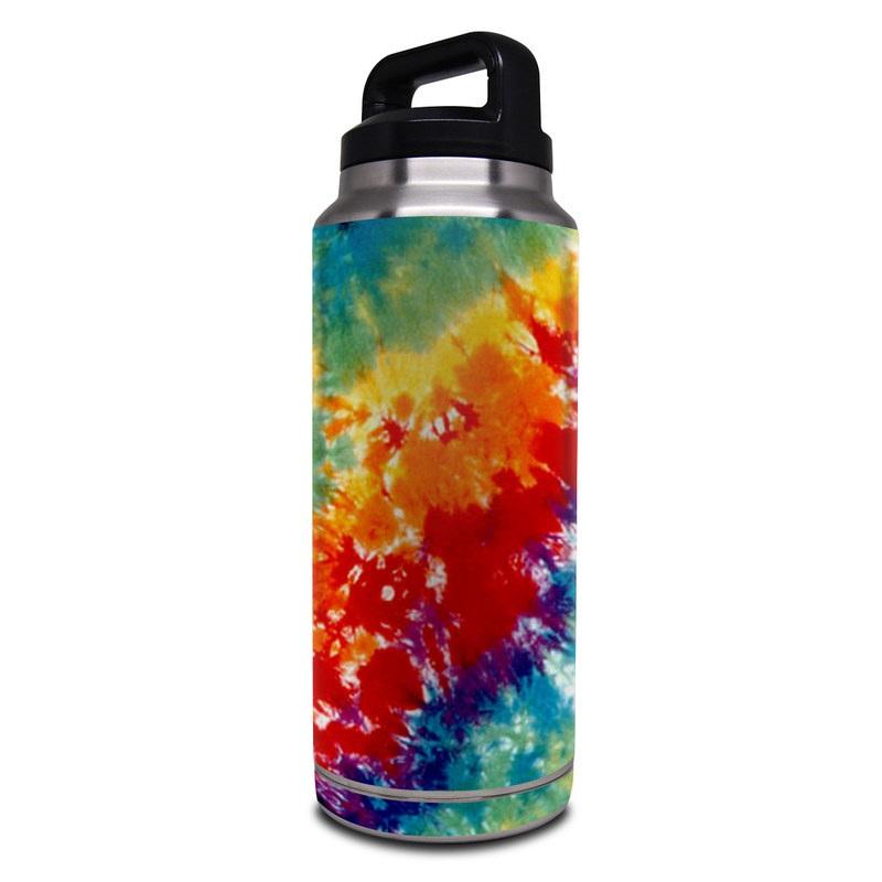 Yeti Rambler Bottle 36oz Skin design of Orange, Watercolor paint, Sky, Dye, Acrylic paint, Colorfulness, Geological phenomenon, Art, Painting, Organism with red, orange, blue, green, yellow, purple colors