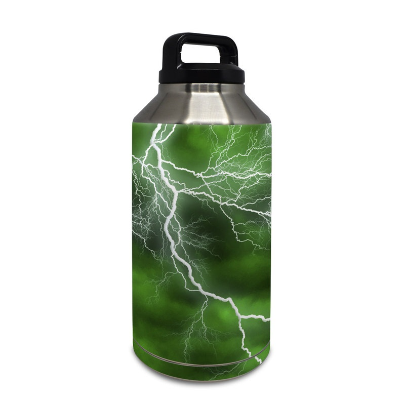 c86d1dd7e5a Yeti Rambler Bottle 64oz Skin design of Thunderstorm, Thunder, Lightning,  Nature, Green