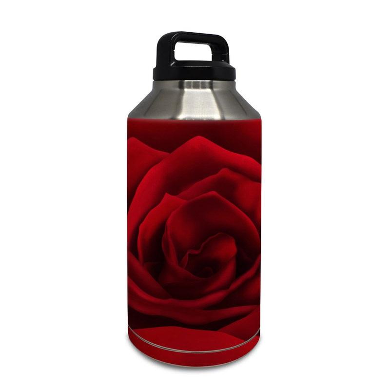 Yeti Rambler Bottle 64oz Skin design of Red, Garden roses, Rose, Petal, Flower, Nature, Floribunda, Rose family, Close-up, Plant with black, red colors