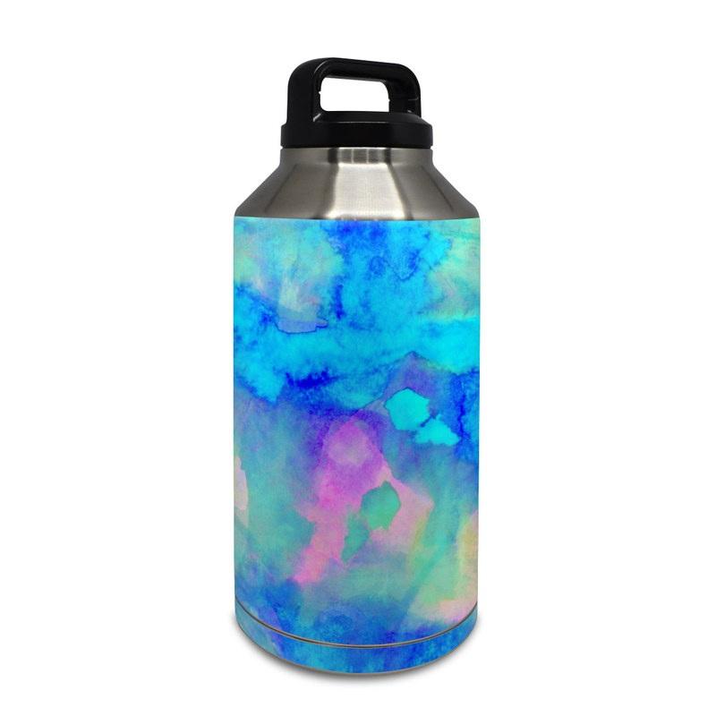 Yeti Rambler Bottle 64oz Skin design of Blue, Turquoise, Aqua, Pattern, Dye, Design, Sky, Electric blue, Art, Watercolor paint with blue, purple colors