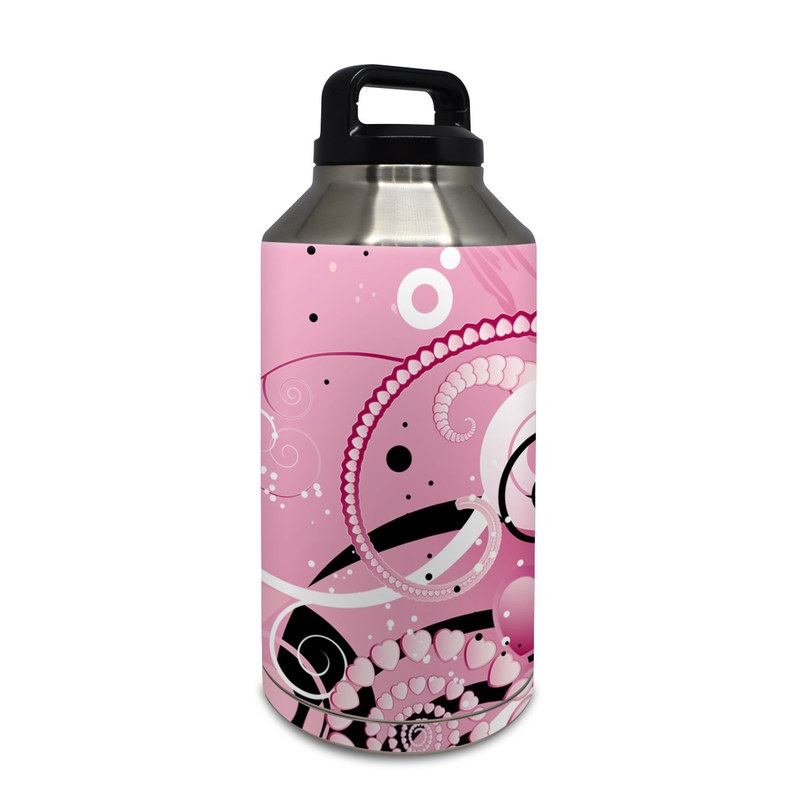 Yeti Rambler Bottle 64oz Skin design of Pink, Floral design, Graphic design, Text, Design, Flower Arranging, Pattern, Illustration, Flower, Floristry with pink, gray, black, white, purple, red colors