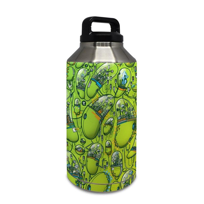 Yeti Rambler Bottle 64oz Skin design of Green, Pattern, Yellow, Design, Illustration, Plant, Art, Graphic design, Urban design with green, blue, gray, yellow, orange colors