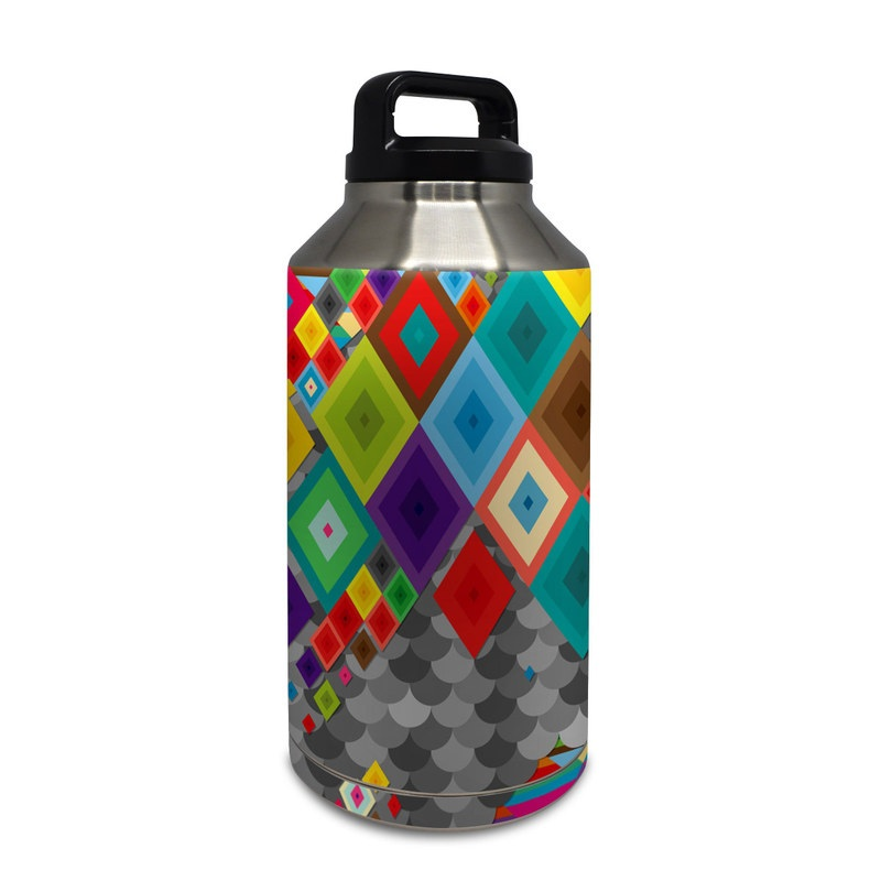 Yeti Rambler Bottle 64oz Skin design of Pattern, Colorfulness, Symmetry, Textile, Design, Visual arts, Square, Triangle, Art with gray, green, brown, red, purple, yellow colors
