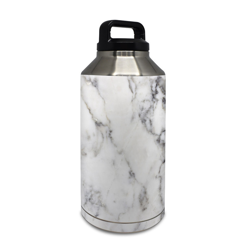 Yeti Rambler Bottle 64oz Skin design of White, Geological phenomenon, Marble, Black-and-white, Freezing with white, black, gray colors