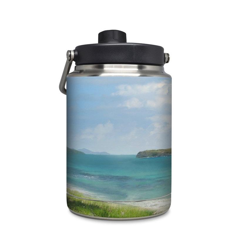 Yeti Rambler Jug Half Gallon Skin design of Body of water, Tropics, Nature, Natural landscape, Shore, Coast, Caribbean, Sea, Tree, Beach with gray, black, blue, green colors