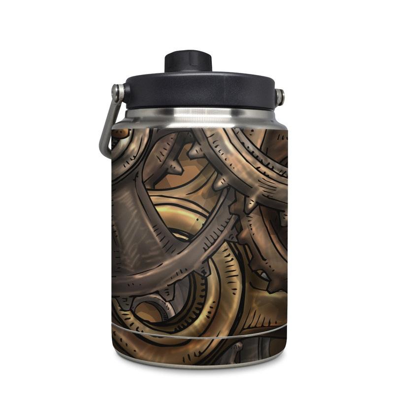 Yeti Rambler Jug Half Gallon Skin design of Metal, Auto part, Bronze, Brass, Copper with black, red, green, gray colors