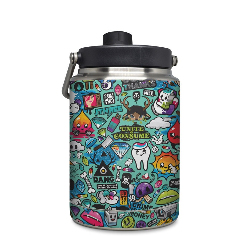 Yeti Rambler Jug Half Gallon Skin design of Cartoon, Art, Pattern, Design, Illustration, Visual arts, Doodle, Psychedelic art with black, blue, gray, red, green colors