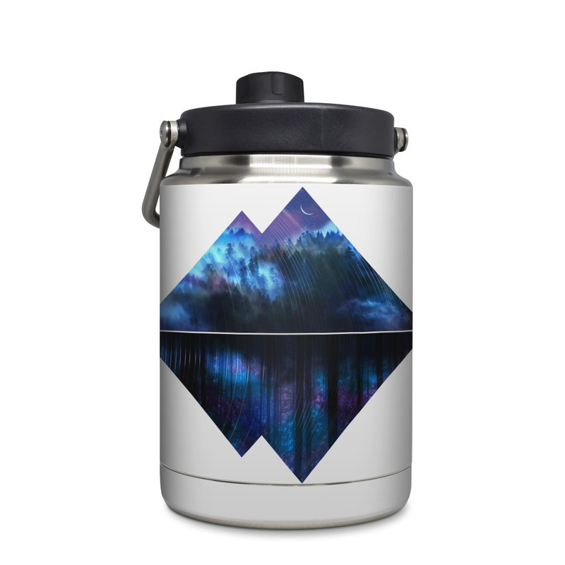 Yeti Rambler Jug Half Gallon Skin design of Blue, Cobalt blue, Pyramid, Pattern, Electric blue, Design, Fractal art, Sky, Triangle, Space with white, blue, purple, black colors