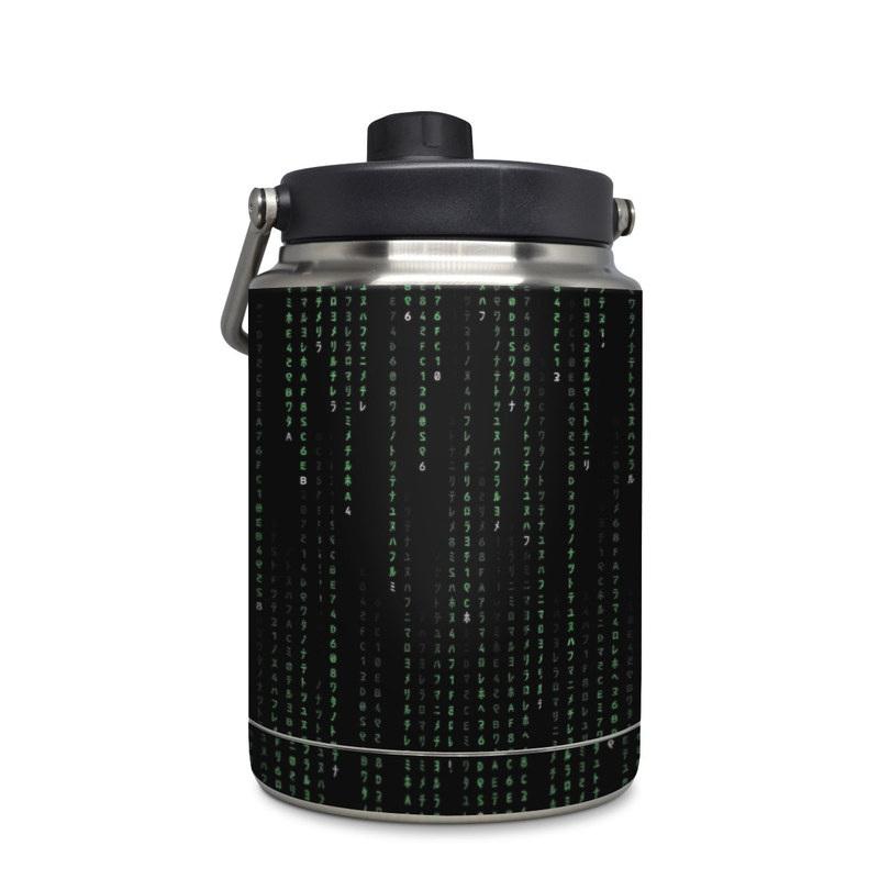 Yeti Rambler Jug Half Gallon Skin design of Green, Black, Pattern, Symmetry with black colors