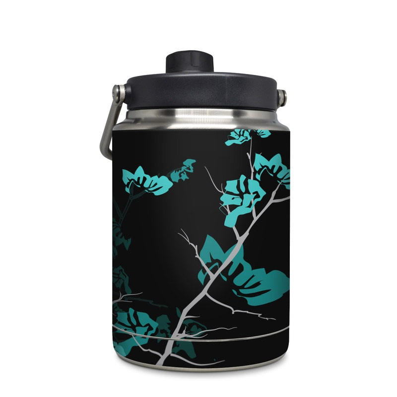 Yeti Rambler Jug Half Gallon Skin design of Branch, Black, Blue, Green, Turquoise, Teal, Tree, Plant, Graphic design, Twig with black, blue, gray colors