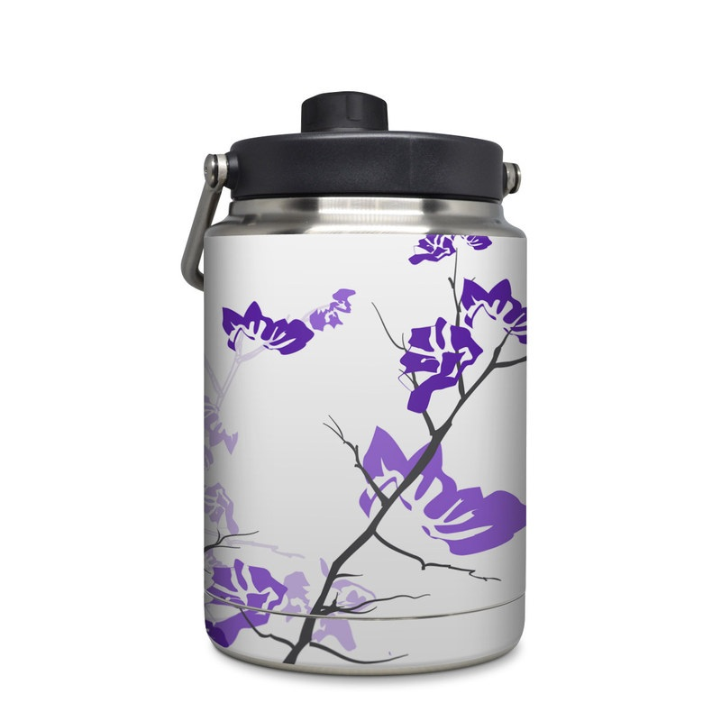 Yeti Rambler Jug Half Gallon Skin design of Branch, Purple, Violet, Lilac, Lavender, Plant, Twig, Flower, Tree, Wildflower with white, purple, gray, pink, black colors